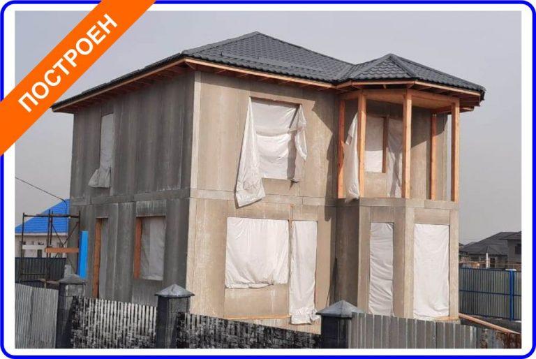 Индивидуальный двухэтажный жилой дом из комбинированных СИП-панелей в посёлке Отеген батыр